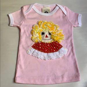 Sz 12 mo Raggedy Ann vintage girl's blouse top